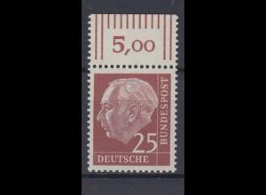Bund 186y mit Oberrand Theodor Heuss 25 Pf postfrisch fuoresz. Papier