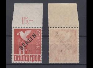 Berlin 19P Schwarzaufdruck Plattendruck ndgz mit Oberrand 3 Mark postfrisch