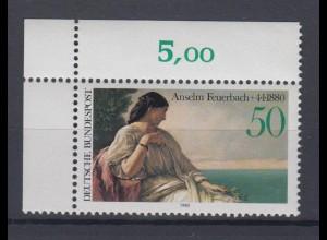 Bund 1033 Eckrand links oben Doctor Todestag Anselm Feuerbach 50 Pf postfrisch