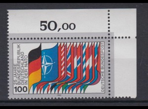 Bund 1034 Eckrand rechts oben 25 Jahre Zugehörigkeit zur NATO 100 Pf postfrisch