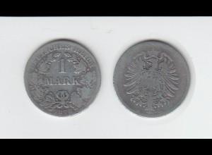 Silbermünze Kaiserreich 1 Mark 1875 B Jäger Nr. 9 /6