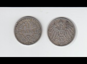 Silbermünze Kaiserreich 1 Mark 1902 F Jäger Nr. 17 /27