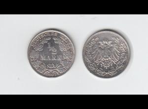 Silbermünze Kaiserreich 1/2 Mark 1907 D Jäger Nr. 16 /48