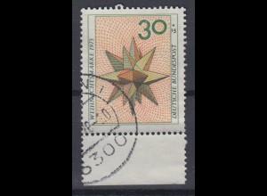 Bund 790 DD Schmitzdruck orange mit Doppeldruck Weihnachten 30 Pf gestempelt