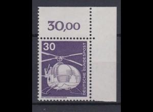 Bund 849 Eckrand rechts oben alte Fluoreszenz Industrie+Technik 30 Pf postfrisch