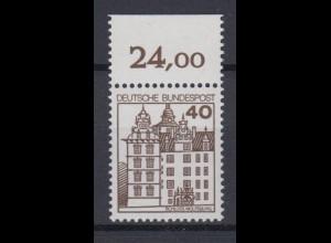 Bund 1037 mit Oberrand Burgen + Schlösser 40 Pf postfrisch