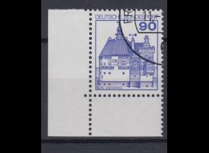 Bund 997 Eckrand links unten Burgen+Schlösser (II) 90 Pf gestempelt