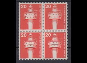 Bund 848 4er Block alte Fluoreszenz Industrie+Technik 20 Pf postfrisch