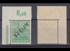 Berlin 16P Schwarzaufdruck Plattendruck ndgz Eckrand links oben 84 Pf ** /1