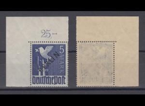 Berlin 20P Schwarzaufdruck Plattendruck ndgz Eckrand links oben 5 M postfrisch
