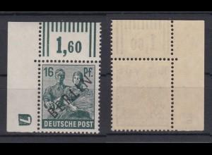 Berlin 7W a Schwarzaufdruck Walzendruck mit DZ 7 Eckrand links oben 16 Pf **