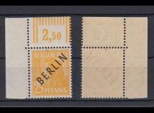 Berlin 10W Schwarzaufdruck Walzendruck Eckrand links oben 25 Pf postfrisch