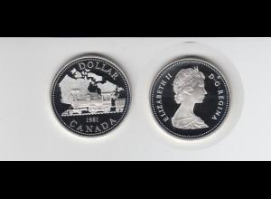 Silbermünze Kanada 1 Dollar 1981 Eisenbahn polierte Platte