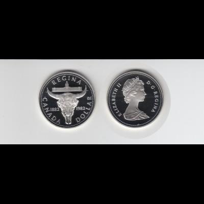 Silbermünze Kanada 1 Dollar 1982 Regina polierte Platte