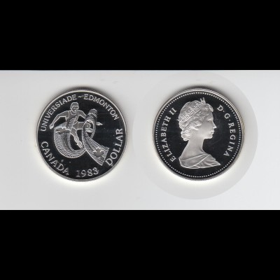 Silbermünze Kanada 1 Dollar 1983 Universiade Edmonton polierte Platte