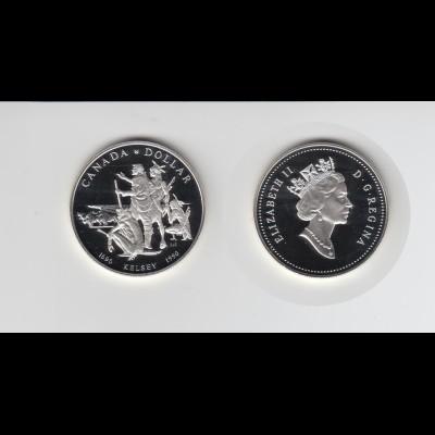 Silbermünze Kanada 1 Dollar 1990 Henry Kelsey Expedition polierte Platte