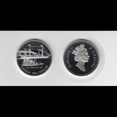 Silbermünze Kanada 1 Dollar 1991 Schaufelraddampfer Frontenac polierte Platte
