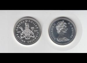 Silbermünze Kanada 1 Dollar 1971 Britisch Columbia stempelglanz