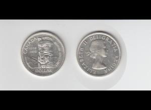 Silbermünze Kanada 1 Dollar 1958 British Columbia