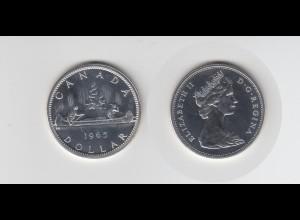 Silbermünze Kanada 1 Dollar 1965 Kanu stempelglanz