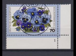 Bund 907 Eckrand rechts unten mit Formnr. 1 Wohlfahrt: Gartenblumen 70+ 35 Pf **