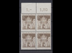 Bund 489 4er Block mit Oberrand Deutsche Bauwerke (II) 5 Pf postfrisch