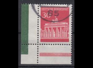Bund 508 Eckrand links unten aus MHB Brandenburger Tor 30 Pf gestempelt