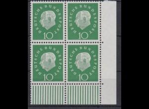 Bund 303 Eckrand rechts unten 4er Block Bundespräsident Heuss 10 Pf postfrisch