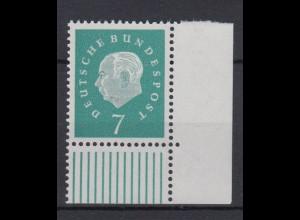 Bund 302 Eckrand rechts unten Bundespräsident Theodor Heuss 7 Pf **