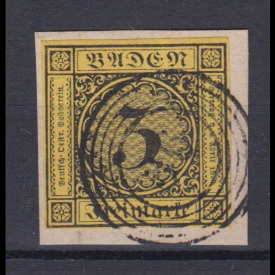 Baden Mi.Nr. 2a Ziffer im Kreis 3 Kreuzer gestempelt auf Briefstück