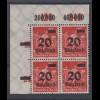 Dt. Reich 280 4er Bl. Eckrand links oben Ziffern im Rechteck 20 Tsd auf 12 M **
