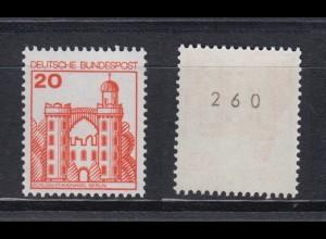 Bund 995 RM mit gerader Nr. Burgen + Schlösser 20 Pf postfrisch