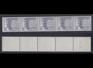 Bund 913 II Letterset RM 5er Streifen ungerade Nr. Burgen+Schlösser (I) 10 Pf **