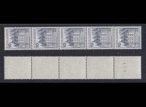 Bund 913 II Letterset RM 5er Streifen gerade Nr. Burgen+Schlösser (I) 10 Pf **