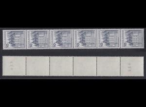 Bund 913 II Letterset RM 6er Streifen Burgen+Schlösser (I) 10 Pf postfrisch