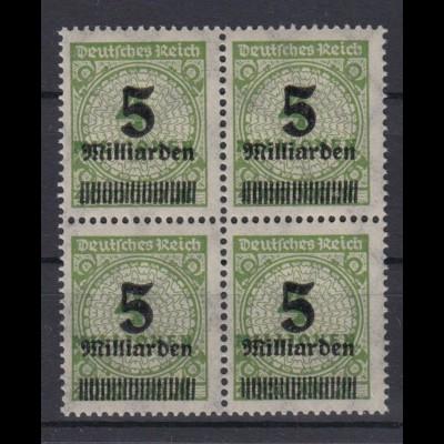 Dt. Reich 333 A 4er Block Wertangaben im Kreis mit Rosetten 5 Mrd auf 4 Mio M **