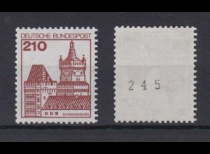 Bund 998 RM mit ungerader Nummer Burgen + Schlösser 210 Pf postfrisch