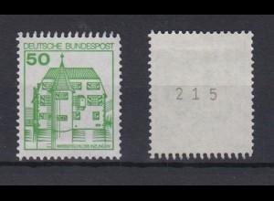 Bund 1038 RM mit ungerader Nummer Burgen + Schlösser 50 Pf postfrisch