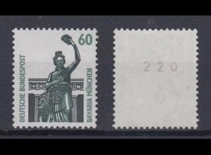 Bund 1341 u RM mit gerader Nummer SWK 60 Pf postfrisch gelbe Gummierung
