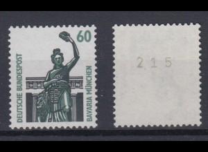 Bund 1341 u RM mit ungerader Nummer SWK 60 Pf postfrisch gelbe Gummierung