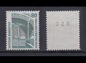Bund 1342 u RM mit gerader Nummer SWK 80 Pf postfrisch gelbe Gummierung