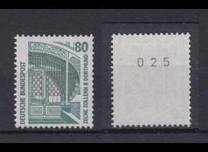 Bund 1342 u RM mit ungerader Nummer SWK 80 Pf postfrisch gelbe Gummierung