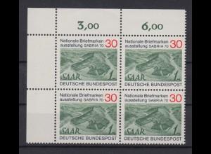Bund 619 Eckrand links oben 4er Block SABRIA 1970 Saarbrücken 30 Pf postfrisch