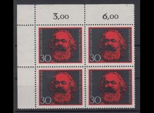 Bund 558 Eckrand links oben 150. Geburtstag v. Karl Marx 30 Pf postfrisch