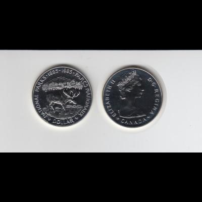 Silbermünze Kanada 1 Dollar 1985 Nationalpark Stempelglanz
