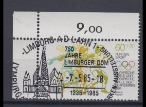 Bund 1206 Eckrand links oben Sporthilfe 1984 60+ 30 Pf Sonderstempel Limburg