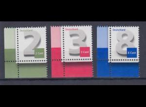 Bund 2964 3042 3188 Eckrand links unten 2,3,8 Cent Ergänzungswerte postfrisch