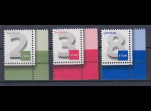 Bund 2964 3042 3188 Eckrand rechts unten 2,3,8 Cent Ergänzungswerte postfrisch