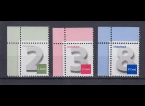 Bund 2964 3042 3188 Eckrand links oben 2,3,8 Cent Ergänzungswerte postfrisch