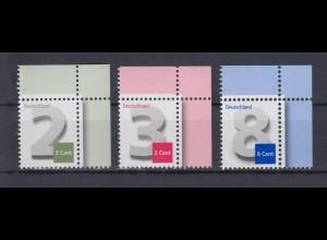 Bund 2964 3042 3188 Eckrand rechts oben 2,3,8 Cent Ergänzungswerte postfrisch